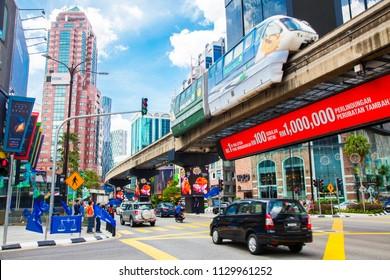 KUALA LUMPUR, MALAYSIA - 20 April 2018: Jalan Sultan Ismail road and Bukit Bintang district busy shopping and business area
