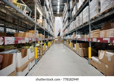 Kuala Lumpur, Malaysia – 20 DECEMBER 2017: Storage of furniture items area, large IKEA store with a wide range of products in The Curve, Damansara, Kuala Lumpur.