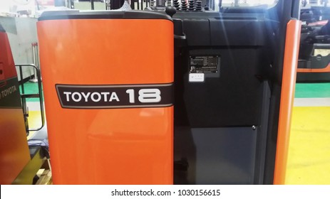 KUALA LUMPUR, MALAYSIA - 20 FEBRUARY 2018 : New model reach truck TOYOTA 8FBR18 from Japan into Malaysia for the industrial market