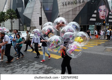 Kuala Lumpur, Malaysia 20 October 2018 : Street scene at Bukit Bintang Walk, one of the luxurious shopping area in the heart of Kuala Lumpur.