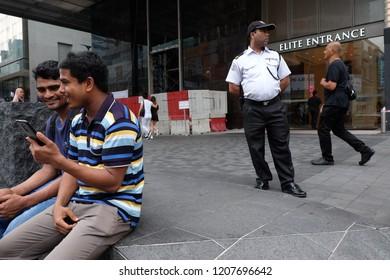Kuala Lumpur, Malaysia 20 October 2018 : Bangladesh worker at Bintang Walk, one of the luxurious shopping area in the heart of Kuala Lumpur.