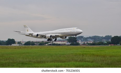 KUALA LUMPUR, MALAYSIA - 21 AUGUST 2017: arrival of Boeing 747-8LQ(BBJ) aircraft registration number V8-BKH Brunei Government at the Sultan Abdul Aziz Shah Airport, Subang
