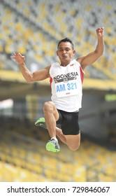 KUALA LUMPUR, MALAYSIA 21 SEPTEMBER 2017: Athlete long jump event perform at the ASEAN Para Games 2017 at the Atlantic Stadium Bukit Jalil, Kuala Lumpur.