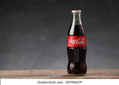 Kuala Lumpur, Malaysia 21th Oct 2016,coca cola can drink on the gray background