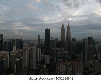 Kuala Lumpur, Malaysia - 23 February 2018: Beautiful and dramatic aerial view of Kuala Lumpur City.