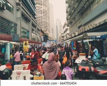 Kuala Lumpur, Malaysia, 23 Jun 2017:  people moving at jalan tar masjid india kuala lumpur looking things for hari raya celebration.