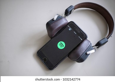 Kuala Lumpur, Malaysia- 23rd February 2018: Spotify apps on iPhone smartphone. Spotify is a popular commercial music streaming service.