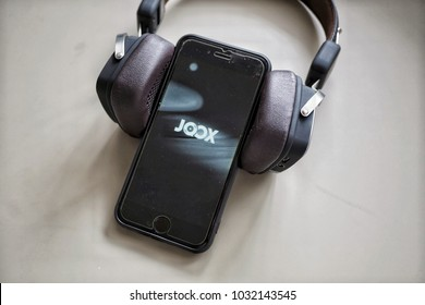 Kuala Lumpur, Malaysia- 23rd February 2018: JOOX apps playing from smartphone. JOOX is a Malaysian commercial music streaming application