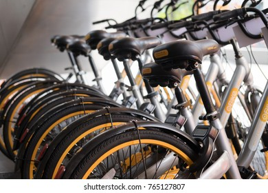 KUALA LUMPUR, MALAYSIA - 24 OCTOBER 2017 : A row of bicycle operated by obike are parking near Medan Tuanku station in Kuala Lumpur. oBike is first stationless smart bike share system in Malaysia.
