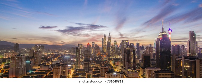 Kuala Lumpur, Malaysia - 24th december 2017 : a beautiful landscape on Kuala Lumpur during blue hour with great building and awesome sky