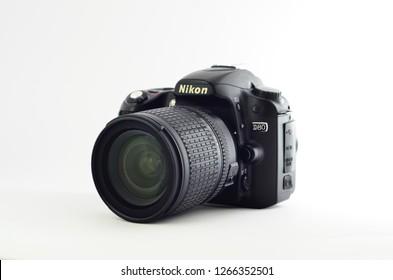 Kuala Lumpur, Malaysia - 25 December 2018. Nikon DSLR camera isolated in white background - image