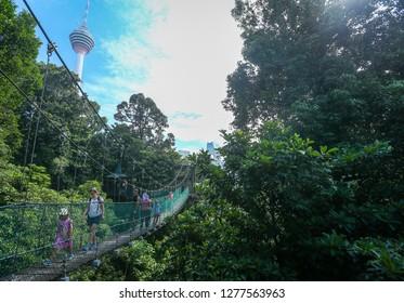 Kuala Lumpur, Malaysia 25 December 2018 : Kuala Lumpur Eko Rimba, Bukit Nanas.