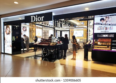 KUALA LUMPUR, MALAYSIA - 25 MAR, 2019: Dior brand cosmetics in The Garden Mall. Cosmetics are the most accessible Dior product, with counters in upmarket department stores across the world.