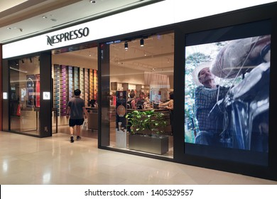 KUALA LUMPUR, MALAYSIA - 25 MAR, 2019: View of Nespresso store in The Gardens Mall. Nespresso Machines Brew Espresso from capsules or pods in machines for home and pro.