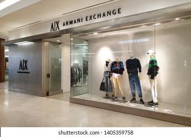 b54c2fa392e2e KUALA LUMPUR, MALAYSIA - 25 MAR, 2019: Armani Exchange fashion store in  shopping
