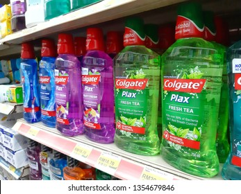 Kuala Lumpur, Malaysia - 25 March 2019 : Colgate Plax Mouthwash on supermarket shelf. Colgate offering a diverse range of oral hygiene product that sold worldwide - Image