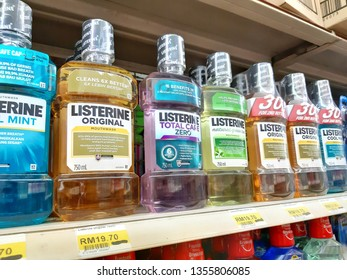 Kuala Lumpur, Malaysia - 25 March 2019 : Various of Listerine product displayed at supermarket. Listerine is an American brand of antiseptic mouthwash product. - Image