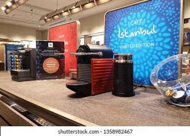 KUALA LUMPUR, MALAYSIA - 25 MARCH 2019: Interior view of Nespresso store in The Garden Mall. Nespresso Machines Brew Espresso from capsules or pods in machines for home and pro.