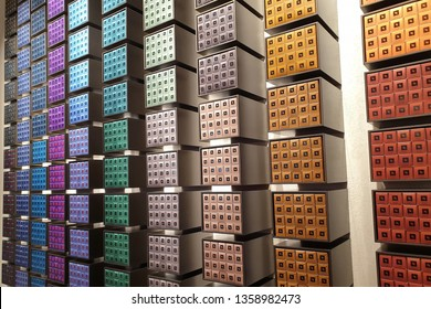 KUALA LUMPUR, MALAYSIA - 25 MARCH 2019: View of a store display of colourful Nespresso single dose coffee capsules. Nespresso Machines Brew Espresso from capsules or pods in machines for home and pro.
