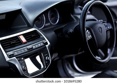 KUALA LUMPUR, MALAYSIA 26 DECEMBER 2017 - Isolated white screen of vehicle monitor in dashboard new Proton Perdana.