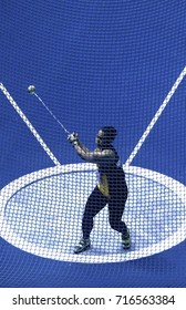 KUALA LUMPUR, MALAYSIA 27 AUGUST 2017: Athletes in action at the Hammer Throw at the 29th SEA Games at the National Stadium in Bukit Jalil, Kuala Lumpur.