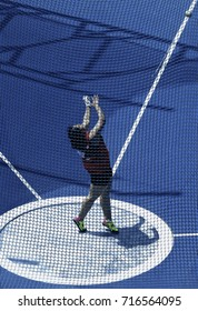 KUALA LUMPUR, MALAYSIA 27 AUGUST 2017: Athletes in action at the Hammer Throw at the 29th SEA Games at the National Stadium in Bukit Jalil, Kuala Lumpur