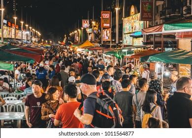 Kuala Lumpur, Malaysia - 27 January 2018 - The Alor Street Food Night Market