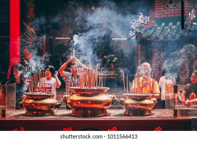 Kuala Lumpur, Malaysia - 27 January 2018   Kuan Ti Temple is a 121 year-old Taoist temple located along Jalan Tun HS Lee in Chinatown,