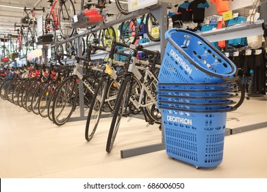 Kuala Lumpur, Malaysia - 27 July 2018 : Bicycles for sale at a sporting goods Decathlon store in Damansara. Decathlon is one of the world's largest sporting goods retailers.