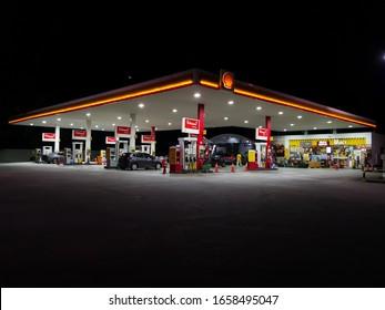 Kuala Lumpur, Malaysia, 27th February 2020. Night image of a Shell oetrol station stock hoto