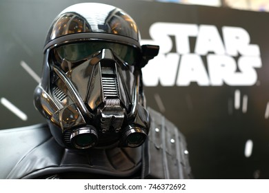 KUALA LUMPUR, MALAYSIA - 28 AUGUST 2017: The Death Trooper Model in a Standee of Rogue One display at the movie theatre. Rogue One, is a 2016 American epic space opera film directed by Gareth Edwards.