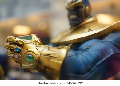 KUALA LUMPUR, MALAYSIA - 28 AUGUST 2017: Close up shot of Thanos's Infinity stones in Hand, Thanos is a fictional supervillain appearing in American comic books published by Marvel Comics.