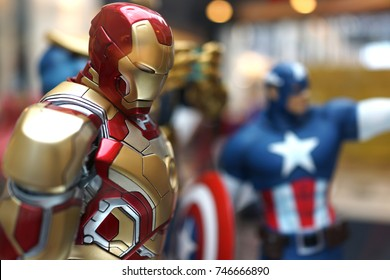 KUALA LUMPUR, MALAYSIA - 28 AUGUST 2017: Close up of a Character of Iron Man figure model in Avengers movie on display for promoting latest Avengers movie.