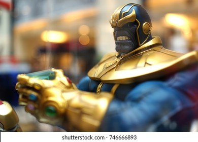 KUALA LUMPUR, MALAYSIA - 28 AUGUST 2017: Close up shot of Thanos figure model in Avengers movie. Thanos is a fictional supervillain appearing in American comic books published by Marvel Comics.