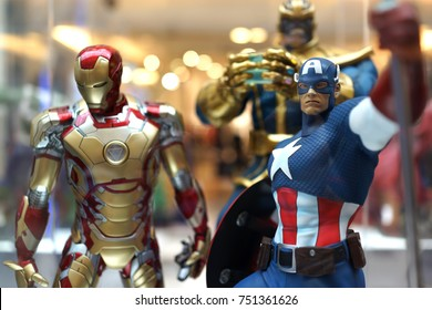 KUALA LUMPUR, MALAYSIA - 28 AUGUST 2017: Close up shot of Avengers superheroes figures on display shelf. The Avengers are a fictional team of superheroes appearing in American comic books by Marvel.