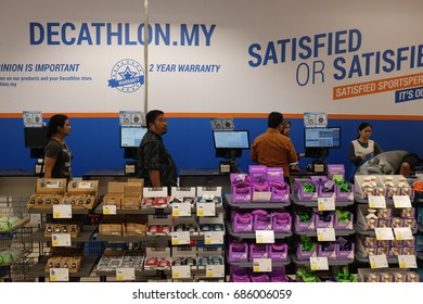 Kuala Lumpur, Malaysia 28 July 2017 :  Shoppers at Malaysia first Decathlon outlet. Decathlon is one of the world's largest sporting goods retailers.