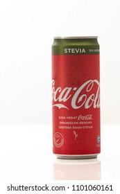 kuala lumpur, Malaysia - 28 May 2018 : aluminium can drink of COCA - COLA with stevia