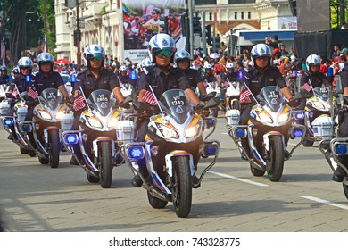 KUALA LUMPUR, MALAYSIA - 28 OCTOBER 2017: Group of police motorcycle drives together during the Celebration of 60th Merdeka day 2017 in Dataran Merdeka, Kuala Lumpur.