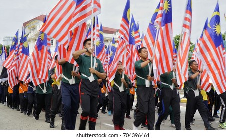 Kuala Lumpur, Malaysia - 28th August 2017 : Parade during the pre trial preparation for upcoming Medeka (independence day) celebration.