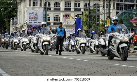 Kuala Lumpur, Malaysia - 28th August 2017: Royal Malaysian Police vehicle parade during the pre trial preparation for upcoming Medeka (independence day) celebration.