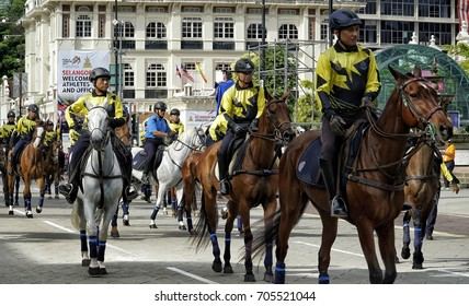Kuala Lumpur, Malaysia - 28th August 2017: A Royal Malaysian Police, Horse Policeman parade during the pre trial preparation for upcoming Medeka (independence day) celebration.