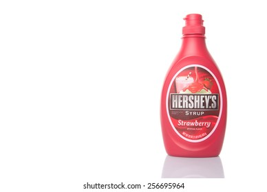 KUALA LUMPUR, MALAYSIA - 28TH FEBRUARY 2015. Hershey strawberry syrup. The Hershey Company is the largest chocolate producer in North America. Its products are sold in over 60 countries worldwide.