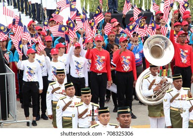KUALA LUMPUR, MALAYSIA, 29 AUGUST 2017: Brass band by 1st Battalion Royal Malay Regiment practice marching during the full rehearsal for Malaysia Independence Day celebration at Merdeka Square