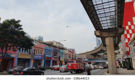 Kuala Lumpur, Malaysia - 29 July 2016 : Public transportation surrounding busy city of Kuala Lumpur with heritage and new building.