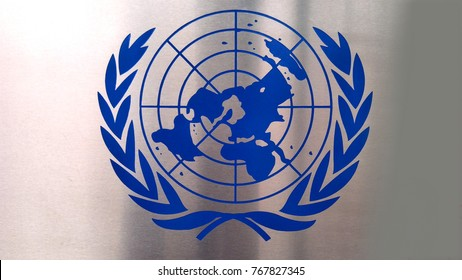 KUALA LUMPUR, MALAYSIA-  29 NOV 2017: Close up image of United Nations logo. The United Nations (UN) is an intergovernmental organization tasked to promote international cooperation.