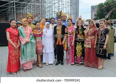 Kuala Lumpur, Malaysia - 29th August 2017 : A group of malaysians wearing various traditional costumes during the celebration of 60th National Day at Dataran Merdeka