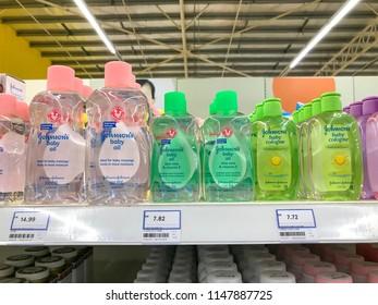 Kuala Lumpur, Malaysia, 2nd August, 2018; Close-up view of Johnson's baby product's on the supermarket shelf.