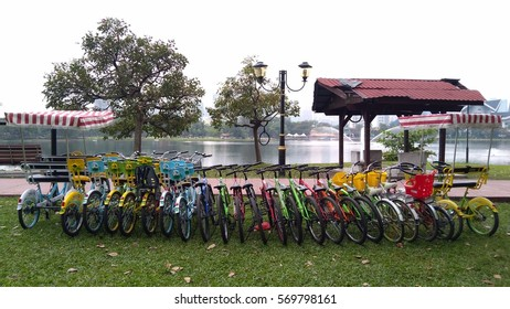 KUALA LUMPUR, MALAYSIA - 2ND FEBRUARY 2017: Colourful bicycle for rental being display at Titiwangsa Lake. Titiwangsa Lake will be closed for 2 years for renovation project by city councel.