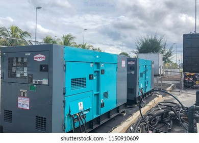 Kuala Lumpur, Malaysia : 3 August 2018 - An outdoor Generator Set is being used outdoor for emergency cooling