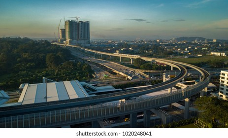 KUALA LUMPUR, MALAYSIA - 3 FEBRUARY, 2018 : Aerial view of MRT line in Sungai Buloh. The MRT is a new public transport in the Klang Valley starting with the Sungai Buloh line